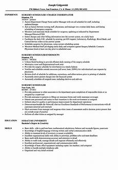 Medical Scheduler Resume Surgery Scheduler Resume Samples Velvet Jobs