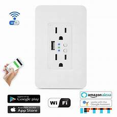 Moeshousewifi Smart Wall Socket Outlet Glass by Hardwired Voice Assistant Outlets Smart Wifi Wall Outlet