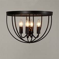 Candle Style Light Fixture Rustic 4 Candle Light Black Metal Round Cage Ceiling