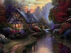 kinkade cottage painting cottages kinkade amanda s camelot