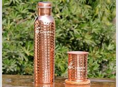 Hammered Copper Water Bottle with Matching Tumbler Set Buy