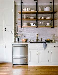 why open kitchen shelves instead of cabinets nonagon style