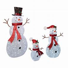 Lighted Snowman Family Set Of 3 Christmas Led Lighted Crystal Beaded Twinkling Iced