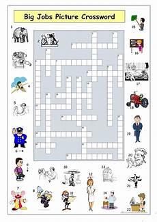 Job Search Activities Big Jobs Picture Crossword Worksheet Free Esl Printable