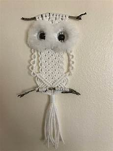 white macrame owl with fluffy wall hanging etsy