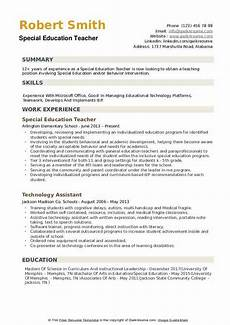Resume Objective For Education Special Education Teacher Resume Samples Qwikresume