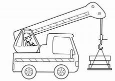 Ausmalbilder Lkw Mit Kran Transportmittel Kranfahrer Zum Ausmalen Ausmalen