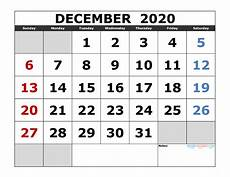 2020 Printable Monthly Calendar With Holidays December 2020 Printable Calendar Template Excel Pdf