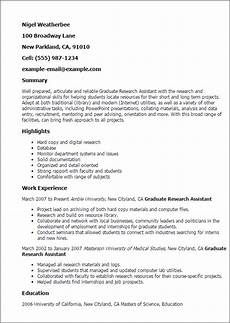 Resume For Graduate Student Professional Graduate Research Assistant Templates To