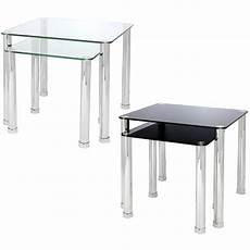 nest of 2 glass chrome tables home lounge living room set
