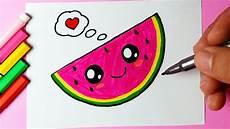 como desenhar melancia fofa e bonita kawaii desenhos