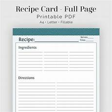 Free Printable Recipe Cards Recipe Card Full Page Fillable Printable Pdf Teal Etsy