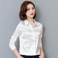 white silk sleeve blouse 2018 fashion silk satin blouse shirt button