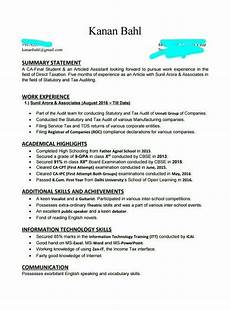 Big 4 Resume Sample How Was Your Cv For Ca Articleship In Big Four Quora