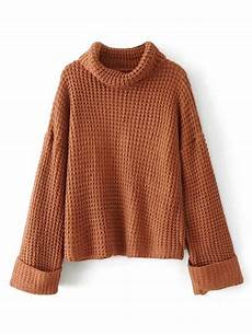 stricken pullunder turtleneck waffle knit sweater shein sheinside