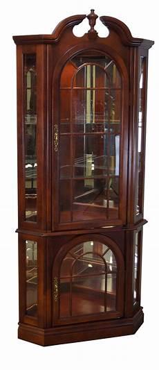 traditional cherry corner curio display cabinet chairish