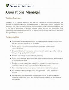 Operations Associate Job Description Operations Manager Job Description