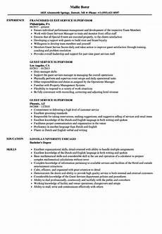 Guest Services Resume Guest Service Supervisor Resume Samples Velvet Jobs