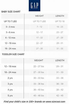 Gap Size Chart Womens Tops Gap Size Chart Baby Clothes Size Chart Baby Clothing