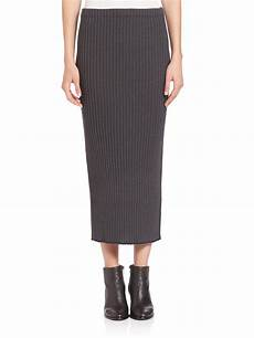 lyst wes gordon rib knit pencil skirt in gray