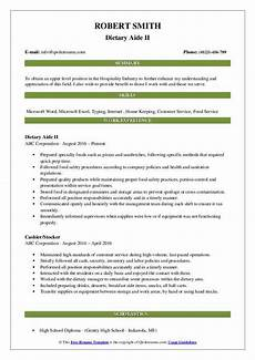 Dietary Aide Resume Dietary Aide Resume Samples Qwikresume