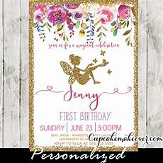 Fairy Invites Fairy First Birthday Invitations Pink Floral Gold Glitter