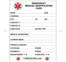 Medical Alert Cards Templates Free Printable Medical Id Cards Medical Id Wallet Size