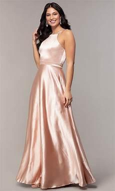 high neck a line cheap formal satin dress