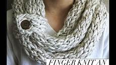 knitting scarf finger knitting infinity scarf