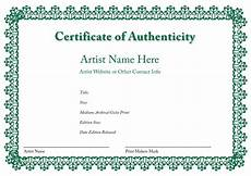 Authentication Certificate Format Certificate Of Authenticity Of An Art Print In 2019