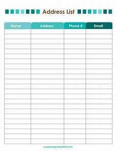 Address List Template Word Address List Printable