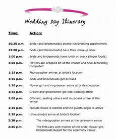 Programme Itinerary Template Wedding Itinerary Template 8 Download Free Documents In