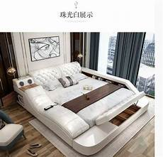 leather bed with storage safe speaker led light for
