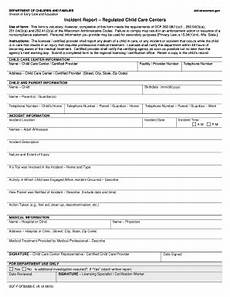 Childcare Incident Report Child Care Incident Report Form Fill Online Printable