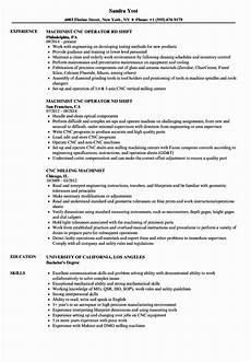 Cnc Machine Operator Resumes 20 Cnc Machine Operator Resume In 2020 Resume Template