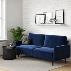 dhp jules upholstered velvet coil futon convertible sofa