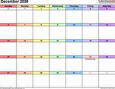 Free December 2020 Calendar December 2020 Calendars For Word Excel Amp Pdf