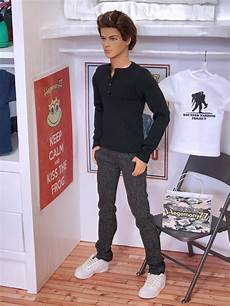 ken doll clothes ken doll in black henley t shirt and grey