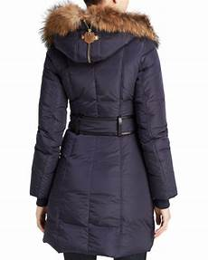 mackage coats for blue fur lyst mackage fur trimmed trish coat in blue save