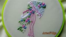 embroidery umbrella flower bouquet bordados a mano