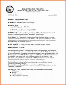 Sample Of Memoranda 9 Memorandum For Record Army Marital Settlements