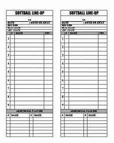 Baseball Lineup Card Pdf Baseball Softball Line Up Roster Card Pdf For Coaches