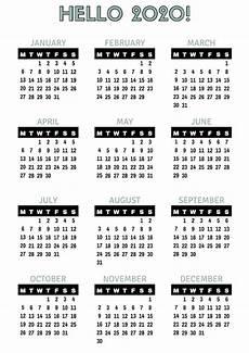 12 Months Calendar 2020 Printable 2020 Yearly Calendar Printable Full Pages Calendar Shelter