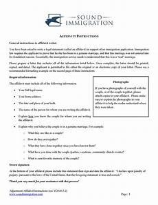Affidavit Samples Affidavit Instructions For Marriage Based Applications