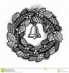 Black And White Christmas Graphics Retro Christmas Wreath Black And White Stock Vector