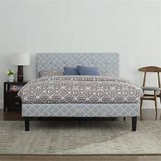 classic blue linen low profile platform bed frame with