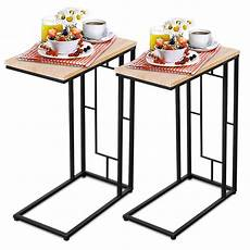 Sofa Snack Table 3d Image by Costway Set Of 2 Coffee Tray Side Sofa End Table Ottoman