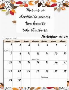 Calendar Month November 2020 Free Printable 2020 Monthly Motivational Calendars