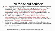 sample responses to interview questions interview sample answer tell me about yourself youtube