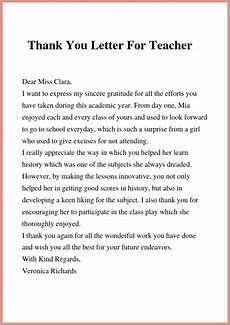 Thank You Letter To A Teacher Thank You Letter To Teacher Amp Principal Letter To